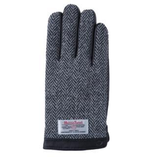 スマホ対応手袋 iTouch Gloves 手のひら側革製ブラック(ヘリンボーン)Lサイズ
