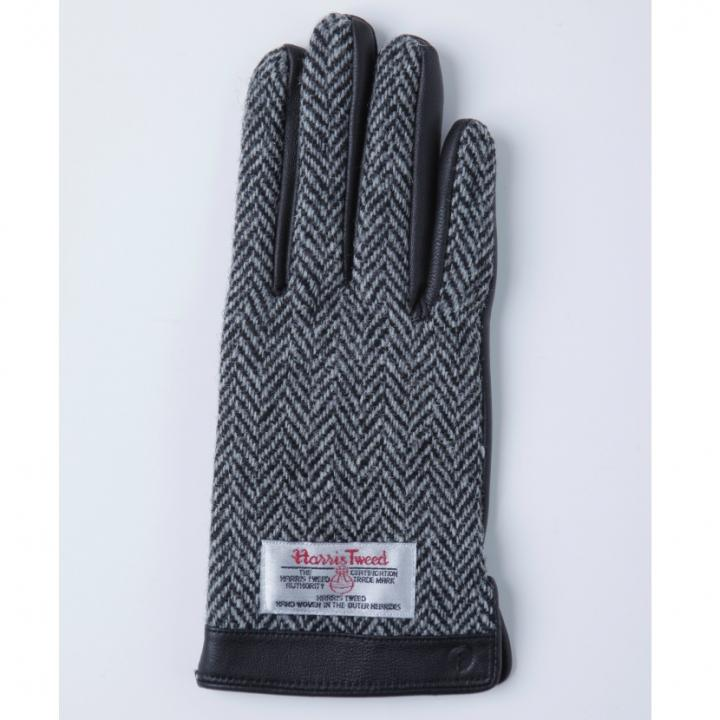 スマホ対応手袋 iTouch Gloves 手のひら側革製ブラック(ヘリンボーン)Sサイズ_0