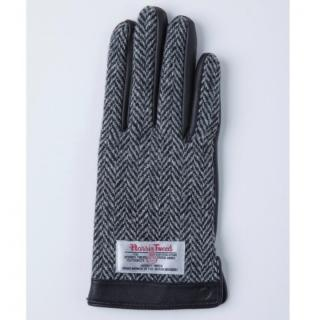 スマホ対応手袋 iTouch Gloves 手のひら側革製ブラック(ヘリンボーン)Sサイズ