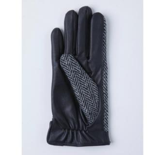 スマホ対応手袋 iTouch Gloves 手のひら側革製ブラック(ヘリンボーン)Sサイズ_1