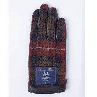 どの指でもスマホが操作できる iTouch Gloves イギリス製ムーン使用(ブラウン/レッド)Lサイズ