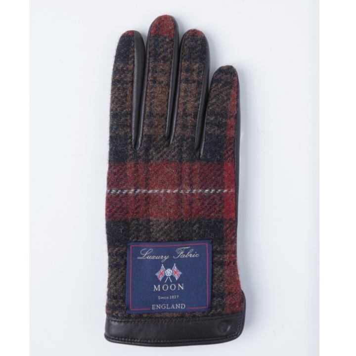 どの指でもスマホが操作できる iTouch Gloves イギリス製ムーン使用(ブラウン/レッド)Sサイズ_0