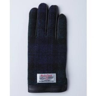 どの指でもスマホが操作できる iTouch Gloves 手のひら側革製ネイビー(チェック)Lサイズ
