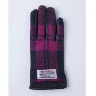 どの指でもスマホが操作できる iTouch Gloves 手のひら側革製ピンク(チェック)Sサイズ