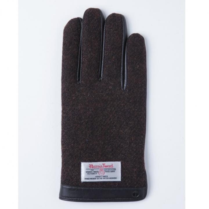 どの指でもスマホが操作できる iTouch Gloves 手のひら側革製ブラウンLサイズ_0