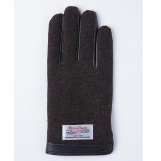 どの指でもスマホが操作できる iTouch Gloves 手のひら側革製ブラウンLサイズ