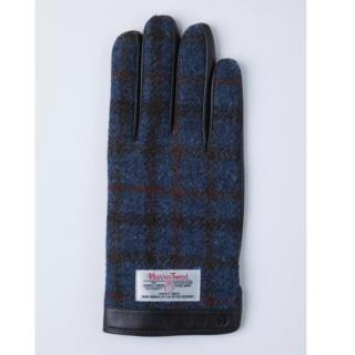 どの指でもスマホが操作できる iTouch Gloves 手のひら側革製ブルー(チェック)Lサイズ