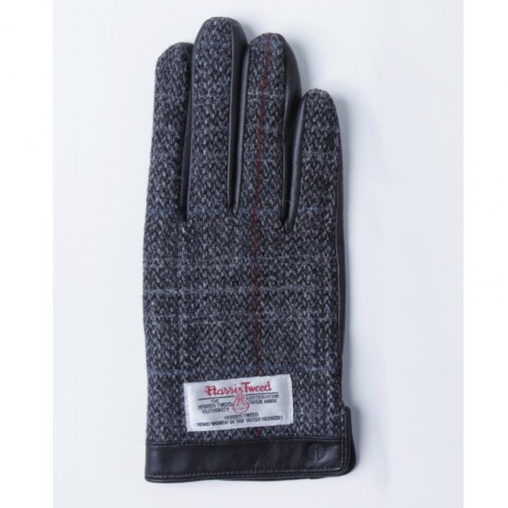 スマホ対応手袋 iTouch Gloves 手のひら側革製グレー(チェック)Sサイズ_0