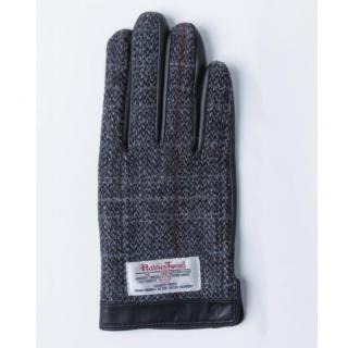 スマホ対応手袋 iTouch Gloves 手のひら側革製グレー(チェック)Sサイズ