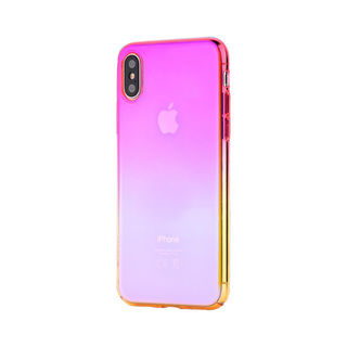 iPhone XS/X ケース オーロラのようにきらめく 繊細で美しいハードケース/Aurora Series Case 2018 ピンク/黄色 iPhone XS/X