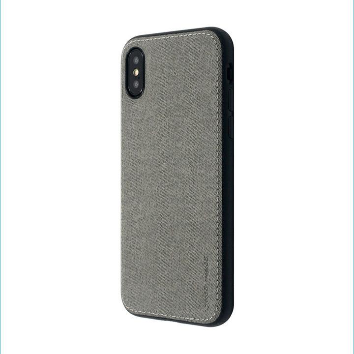 iPhone XS/X ケース 上質なファブリックとステッチがきいたハイブリッド背面ケース/Y EMPIRE 2018 グレイ iPhone XS/X_0