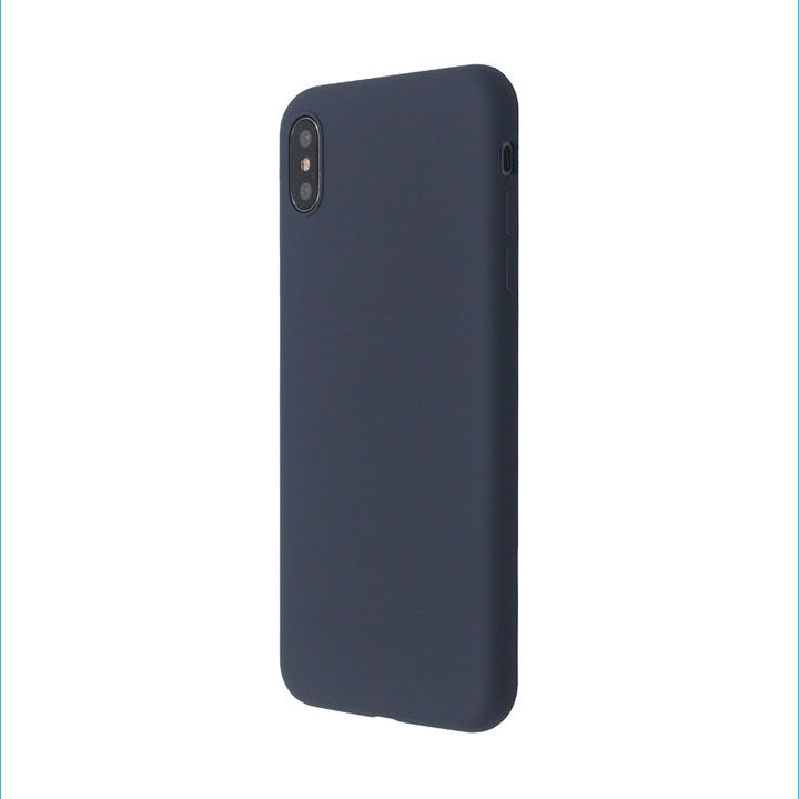 iPhone XS Max ケース 汚れに強い さらっとした肌触りのリキッドシリコンケース/EXTRA SLIM SILICONE ミッドナイトブルー iPhone XS Max_0