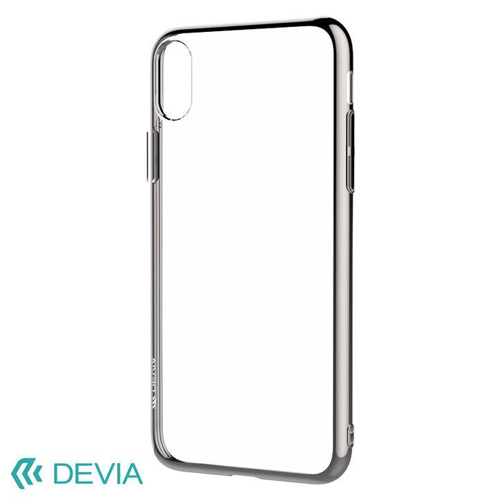 iPhone XR ケース フレームメッキの差し色が映える 超薄型TPUケース/Glitter soft case(TPU) 2018 シルバー iPhone XR_0