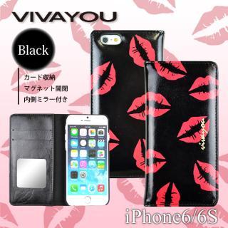【iPhone6s/6ケース】VIVAYOU 手帳型ケース リップ/ブラック iPhone 6s/6_3