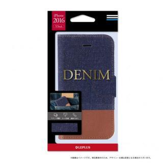 デニムファブリック 手帳型ケース DENIMインディゴ/ブラウン iPhone 7 Plus