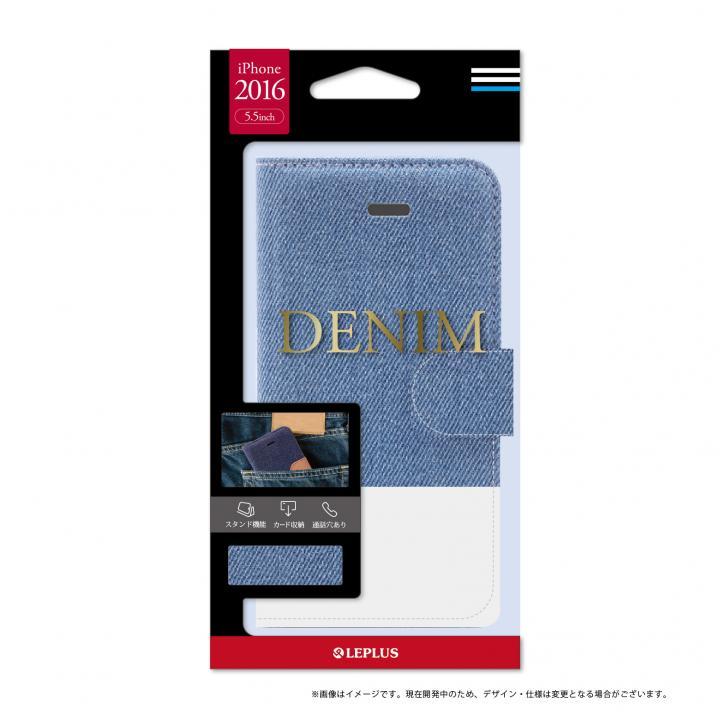 iPhone7 Plus ケース デニムファブリック 手帳型ケース DENIMライトブルー/ホワイト iPhone 7 Plus_0