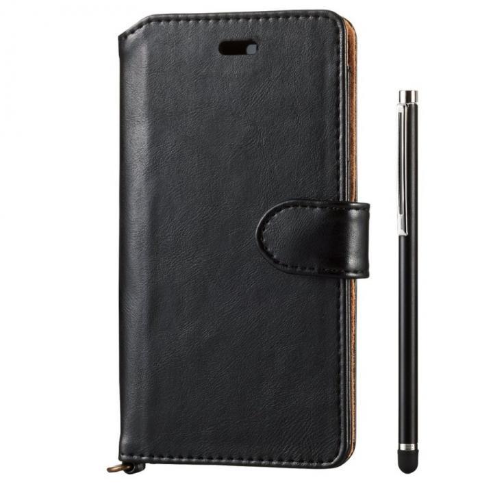 タッチペン付きソフトレザー手帳型ケース ブラック iPhone 6s