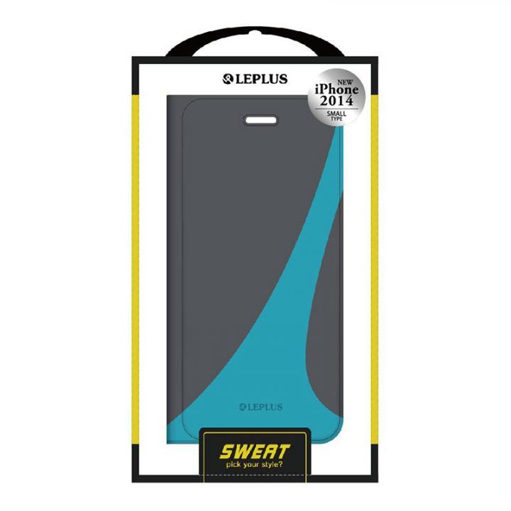 SWEAT デザインPUレザー手帳型ケース ブルー iPhone 6ケース