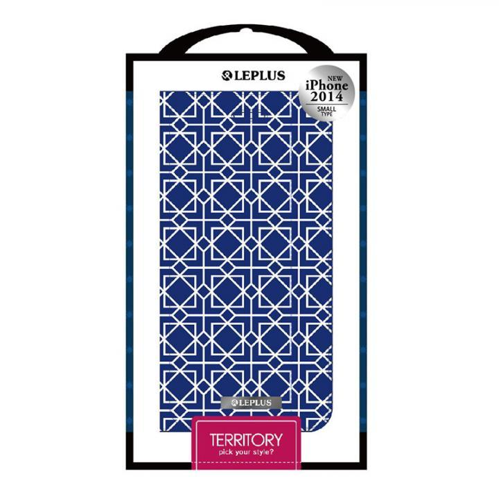 TERRITORY デザインPUレザー手帳型ケース ブルー iPhone 6ケース