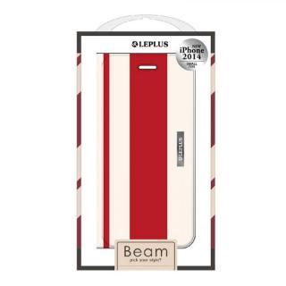 BEAM デザインPUレザー手帳型ケース レッド iPhone 6ケース