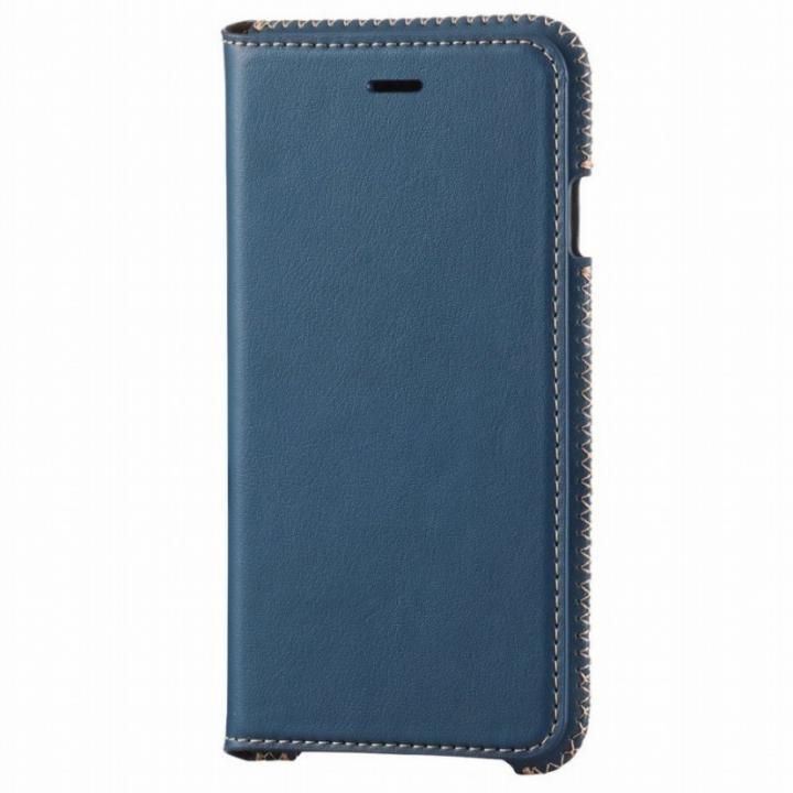 本革 スプリットレザー手帳型ケース ブルー iPhone 6s