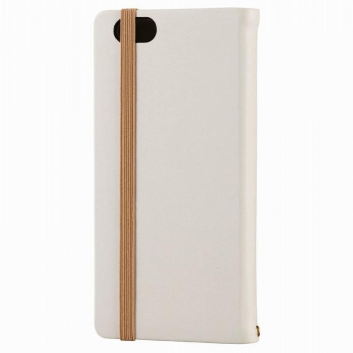 【iPhone6sケース】ゴムバンド付手帳型ケースキャンバス地使用 ホワイト iPhone 6s_0