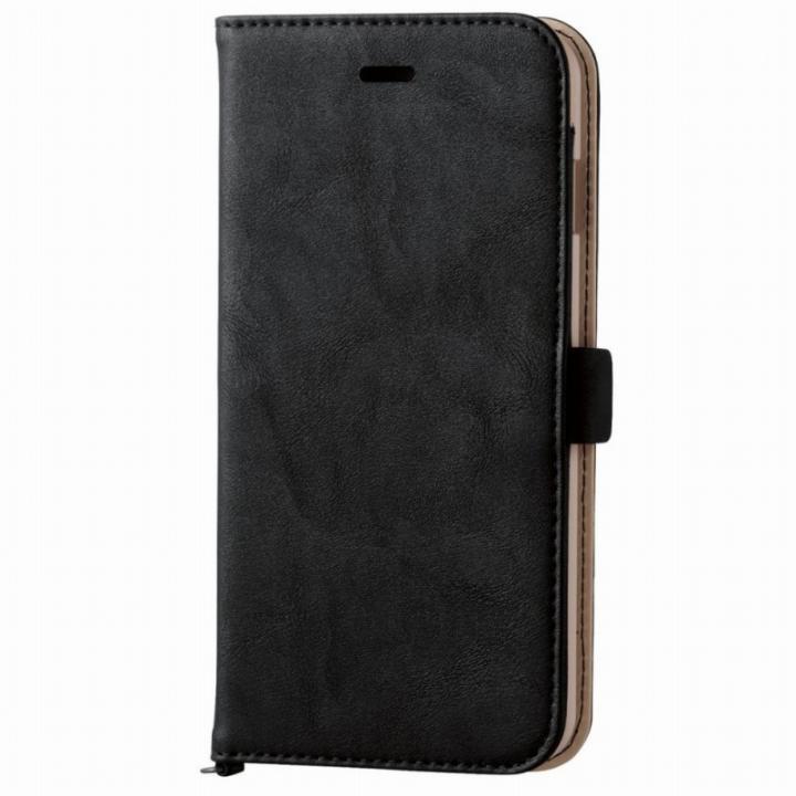ソフトレザー手帳型ケース マグネットタイプ ブラック iPhone 6s Plus