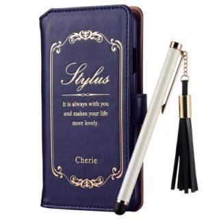 タッチペン付 洋書風手帳型ケース ブルー iPhone 6s