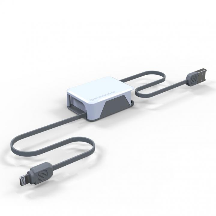 Apple認証取得の巻取式Lightning ケーブル boltBOX ホワイト_0