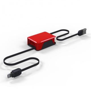 Apple認証取得の巻取式Lightning ケーブル boltBOX レッド