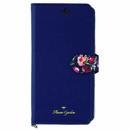 Flower Garden PUレザー手帳型ケース  ネイビー iPhone XS/X