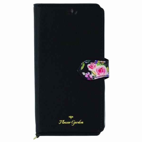 【iPhone XS/Xケース】Flower Garden PUレザー手帳型ケース  ブラック iPhone XS/X_0