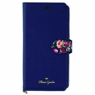 iPhone XS/X ケース Flower Garden PUレザー手帳型ケース  ネイビー iPhone XS/X