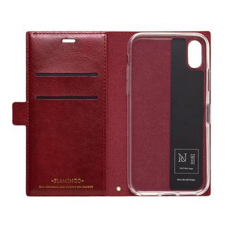 【iPhone XRケース】FLAMINGO PUレザー手帳型ケース  カーボン/レッドブラック iPhone XR_2