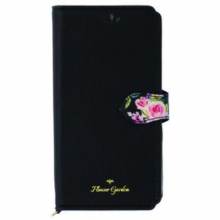 iPhone XS/X ケース Flower Garden PUレザー手帳型ケース  ブラック iPhone XS/X