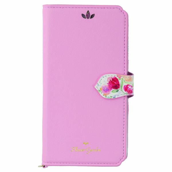iPhone XR ケース Flower Garden PUレザー手帳型ケース  ピンク iPhone XR_0