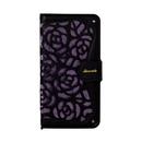 La Roseraie PU手帳型ケース ブラック/パープル iPhone XR