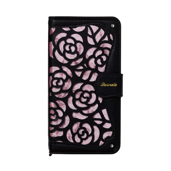 iPhone XR ケース La Roseraie PU手帳型ケース ブラック/ピンク iPhone XR_0
