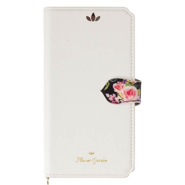 iPhone XS/X ケース Flower Garden PUレザー手帳型ケース  ホワイト iPhone XS/X_0