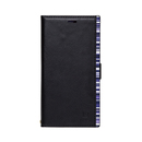 アクセントボーダー PU手帳型ケース ブラック/ブルー iPhone XR
