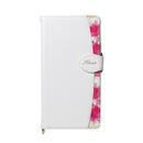 Fleur ボタニカル柄PU手帳型ケース ホワイト iPhone XR