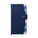 Fleur ボタニカル柄PU手帳型ケース ネイビー iPhone XR