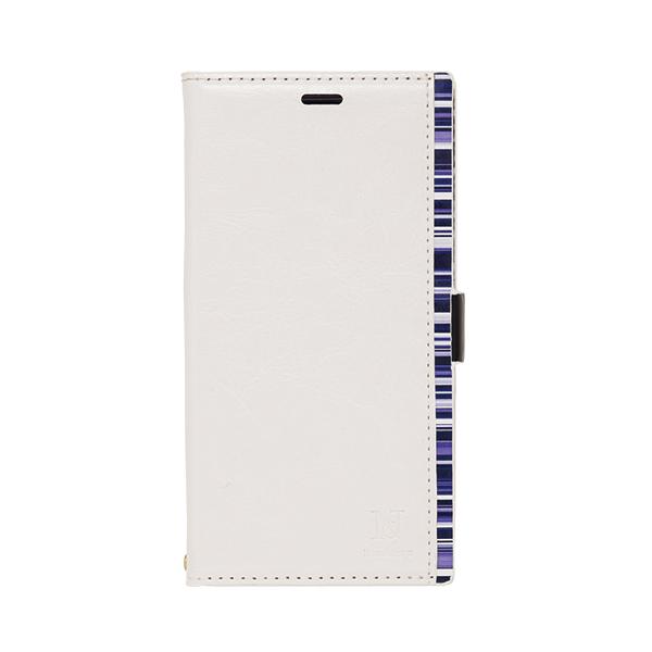 iPhone XR ケース アクセントボーダー PU手帳型ケース ホワイト/ブルー iPhone XR_0