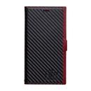 FLAMINGO PUレザー手帳型ケース  カーボン/レッドブラック iPhone XR