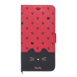 【iPhone XRケース】Minette PUレザー手帳型ケース レッドブラック iPhone XR