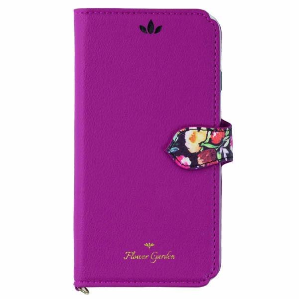 iPhone XR ケース Flower Garden PUレザー手帳型ケース  マゼンタ iPhone XR_0
