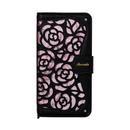 La Roseraie PU手帳型ケース ブラック/ピンク iPhone XR