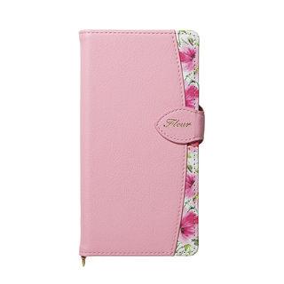 【iPhone XS Maxケース】Fleur ボタニカル柄PU手帳型ケース ピンク iPhone XS Max