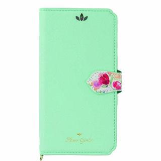 iPhone XS/X ケース Flower Garden PUレザー手帳型ケース  ミント iPhone XS/X