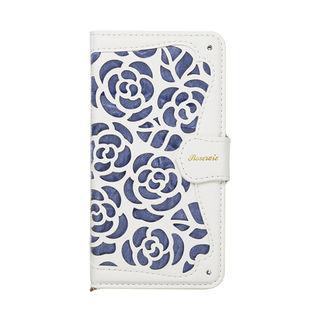 La Roseraie PU手帳型ケース ブルー iPhone XR